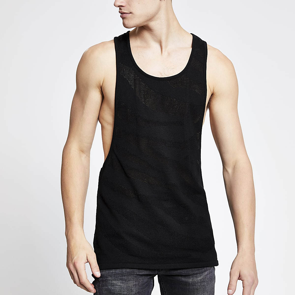 Black slim fit knitted mesh tank