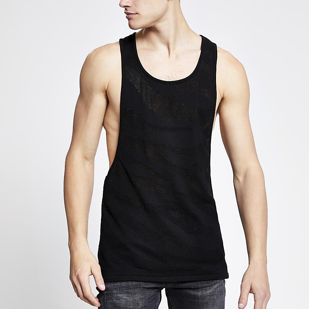 Zwart slim-fit gebreid hemdje met mesh