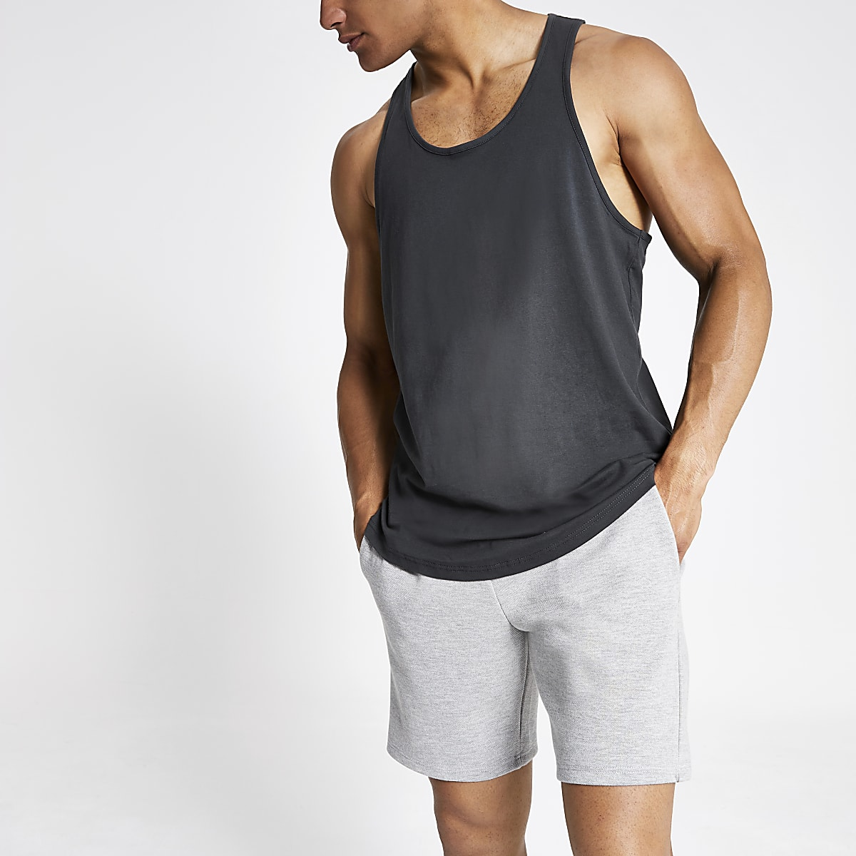Dark grey curve hem racer back vest