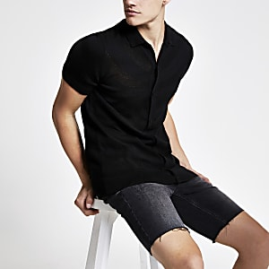 Black mesh slim fit knitted polo shirt