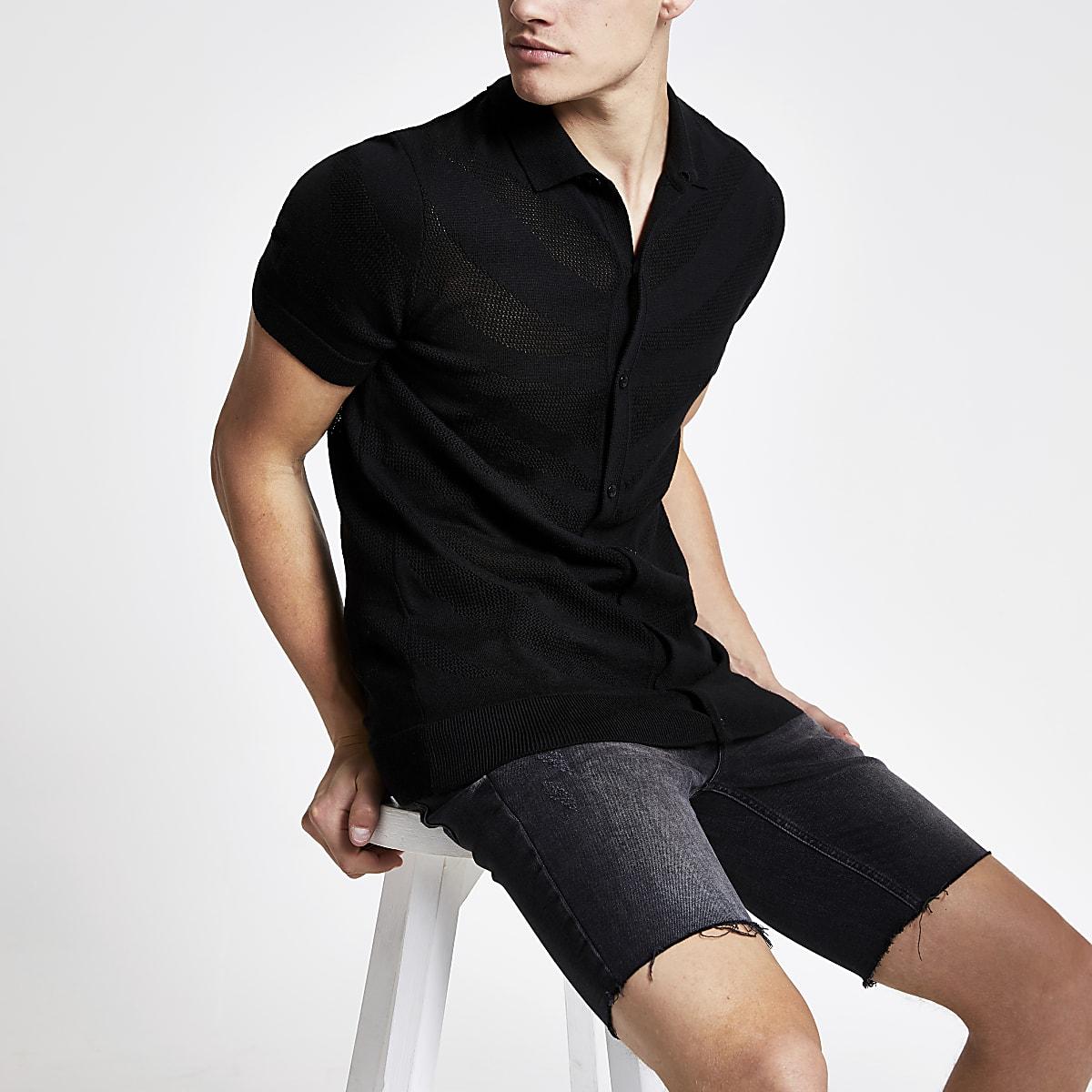 Black mesh slim fit knitted polo shirt