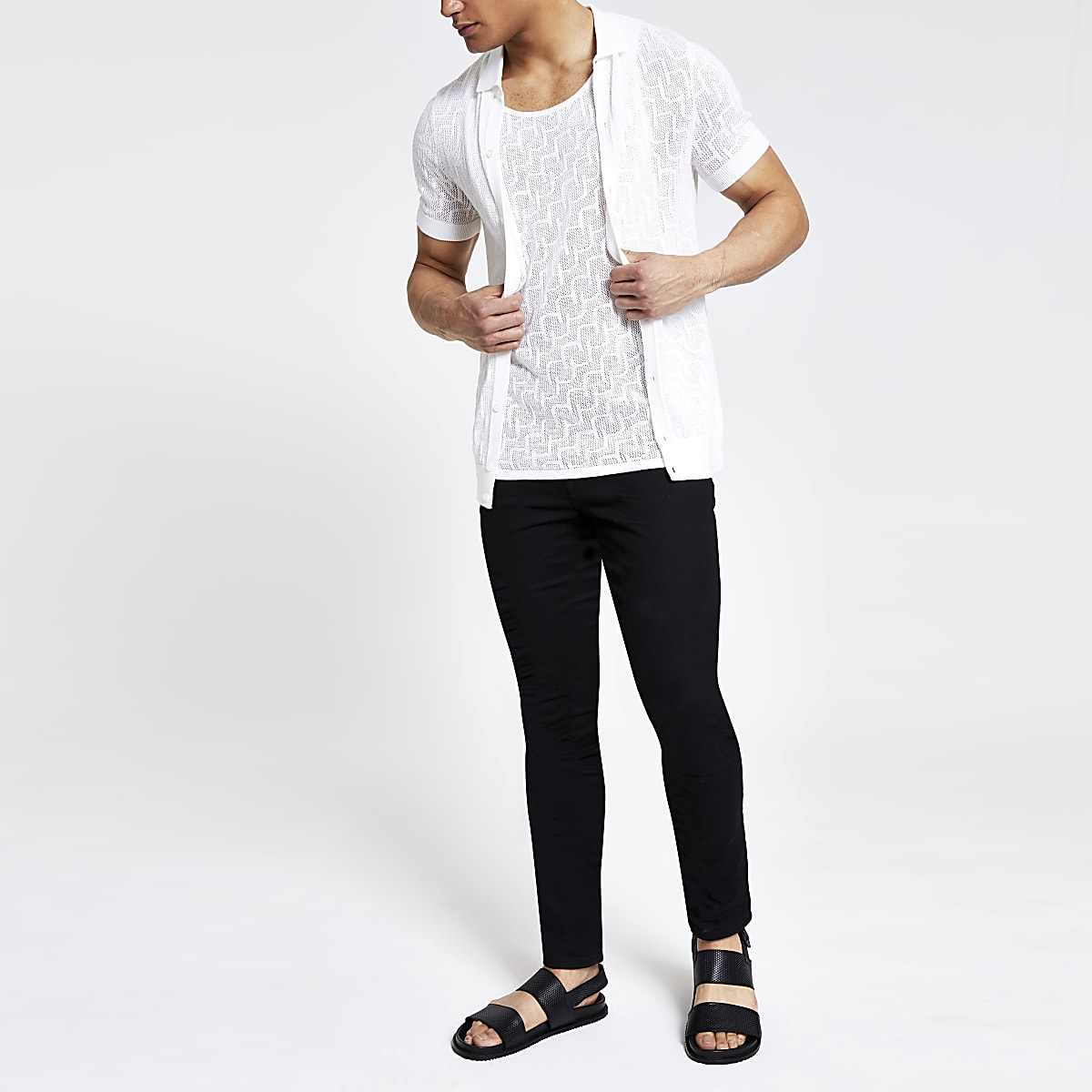 7778cdc08 Ecru slim fit mesh knitted polo shirt - Polo Shirts - men