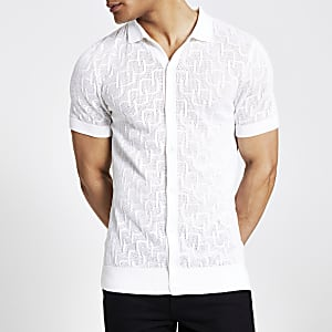 Ecru slim fit mesh knitted polo shirt