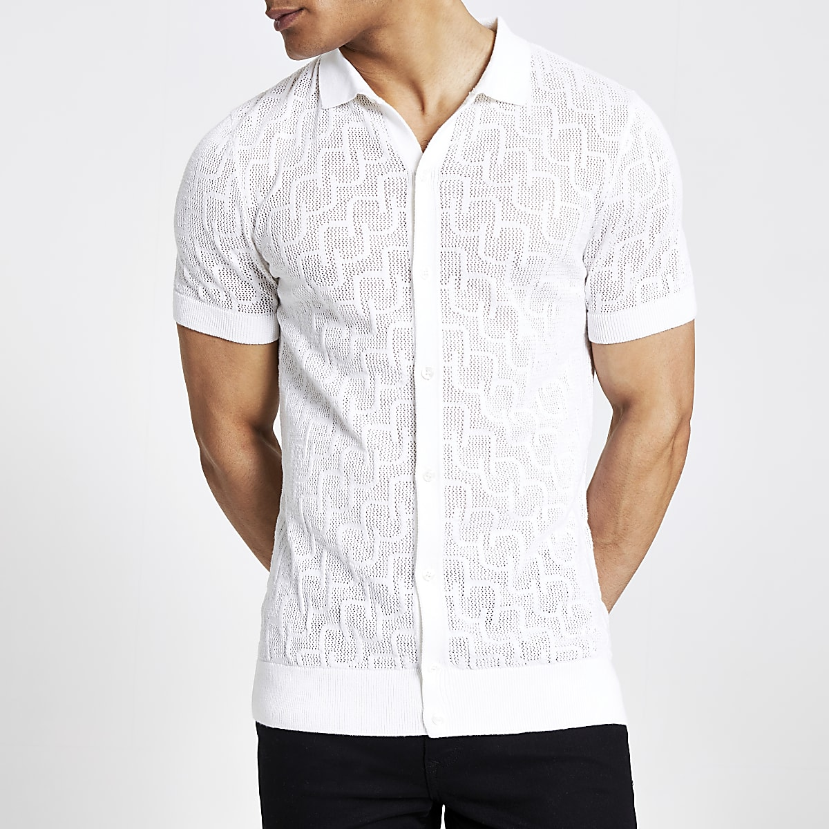 Ecru slim fit mesh knitted polo shirt