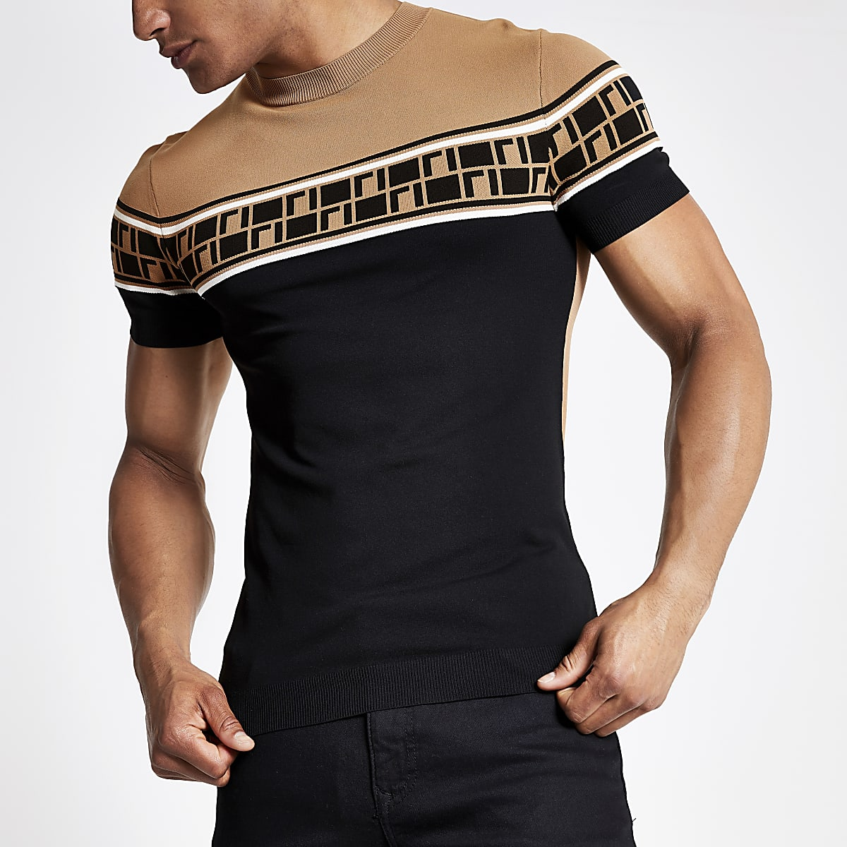 Brown RI muscle fit knitted T-shirt
