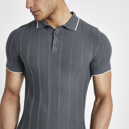 Grey knitted stitch muscle fit polo shirt