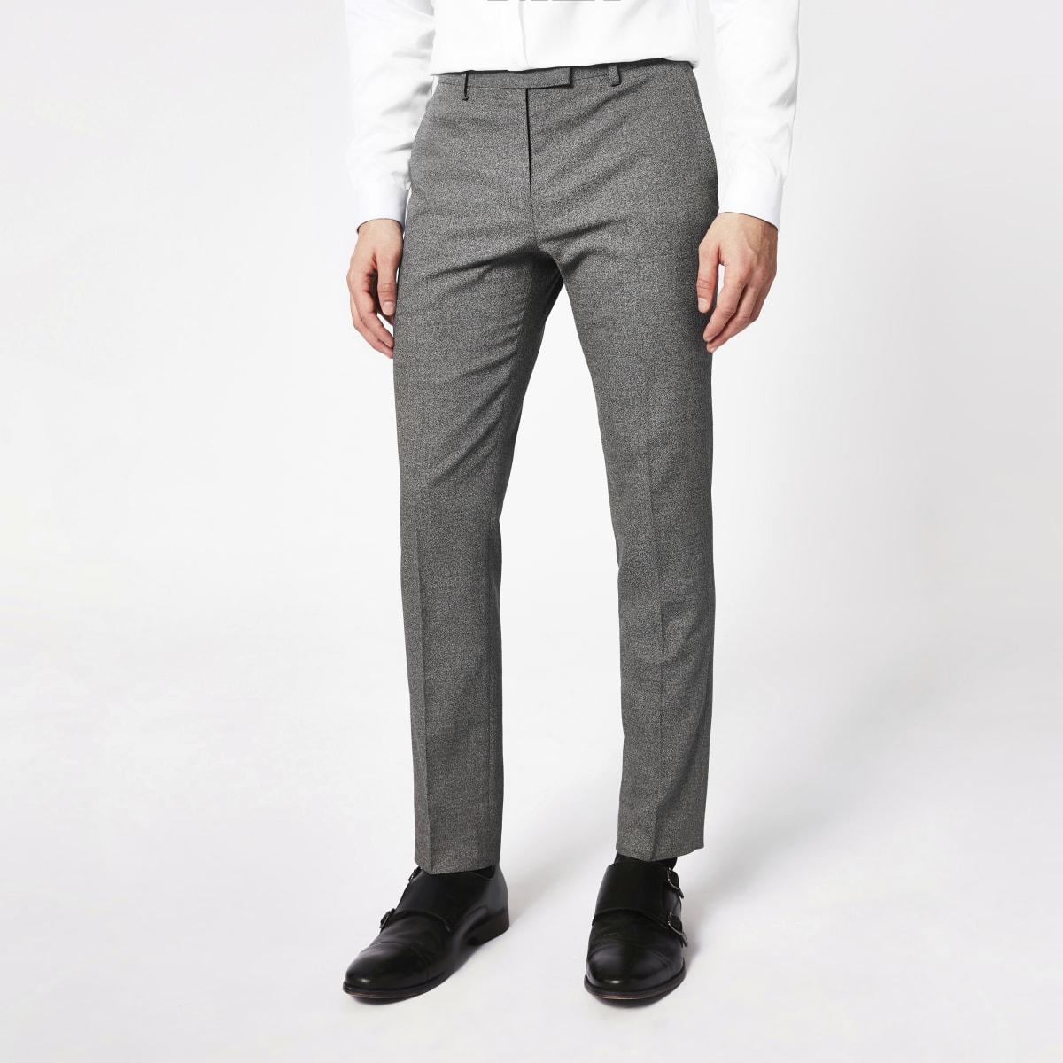 Pantalon de costume skinny gris foncé