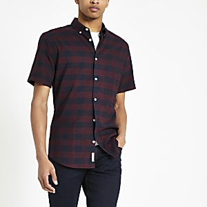 Chemise manches courtes ajustée à carreaux bordeaux