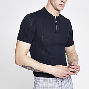 Navy zip neck muscle fit knitted polo shirt
