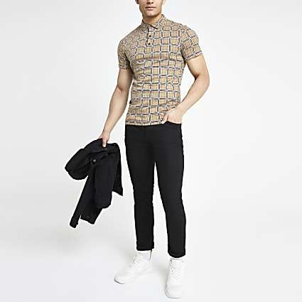 Brown check muscle fit polo shirt