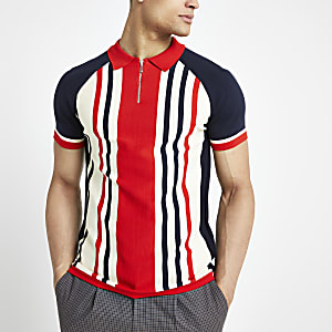Red stripe zip muscle fit knitted polo shirt