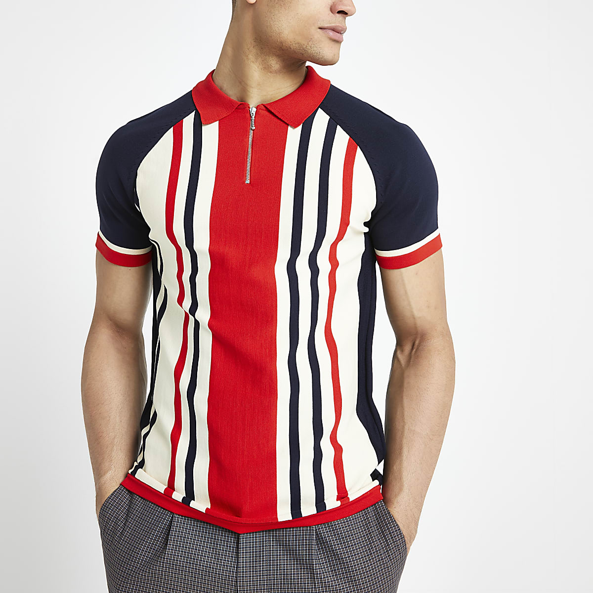 Red stripe muscle fit half zip polo shirt