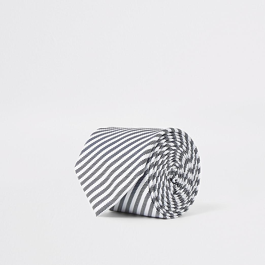Cravate rayée grise