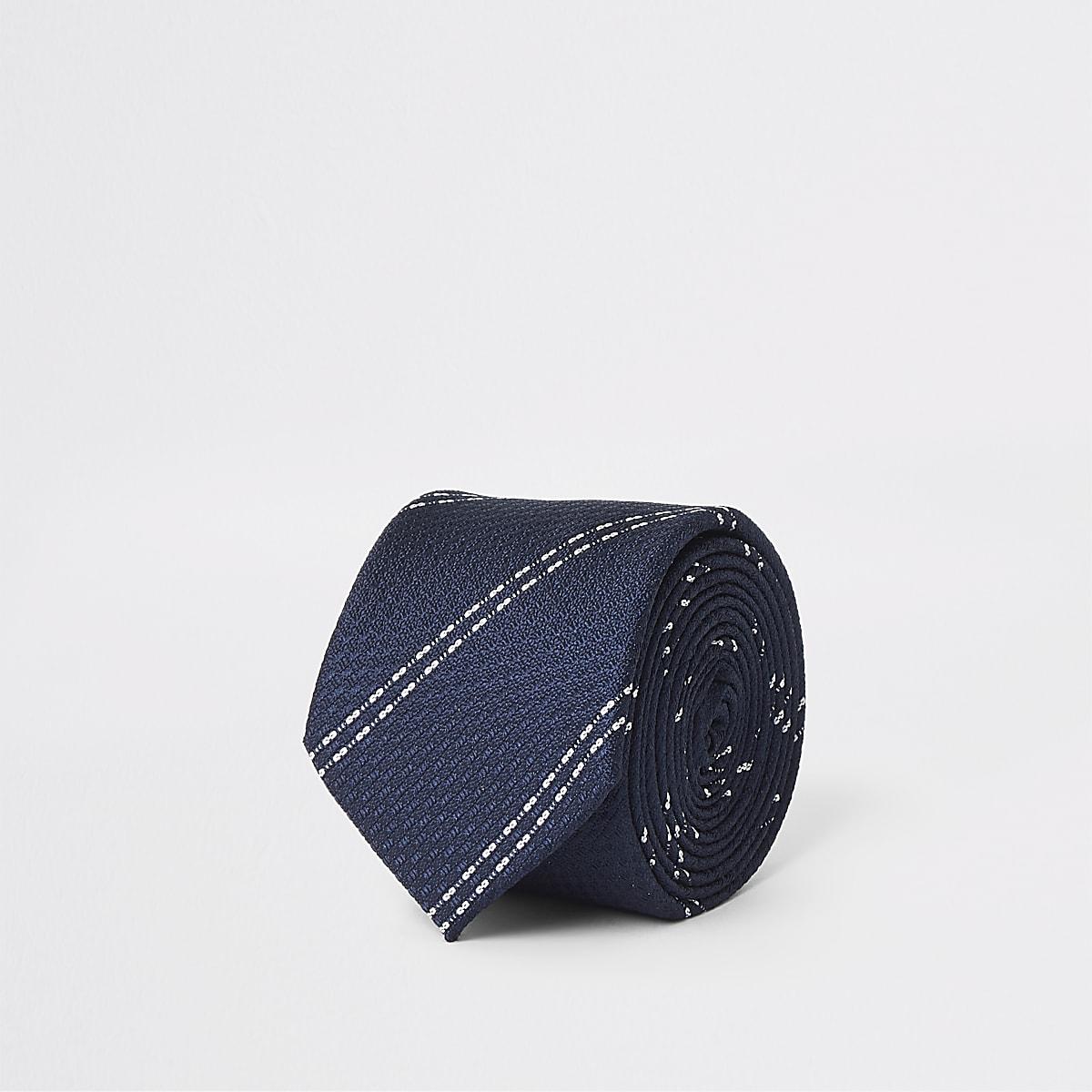 Marineblauwe gestreepte stropdas