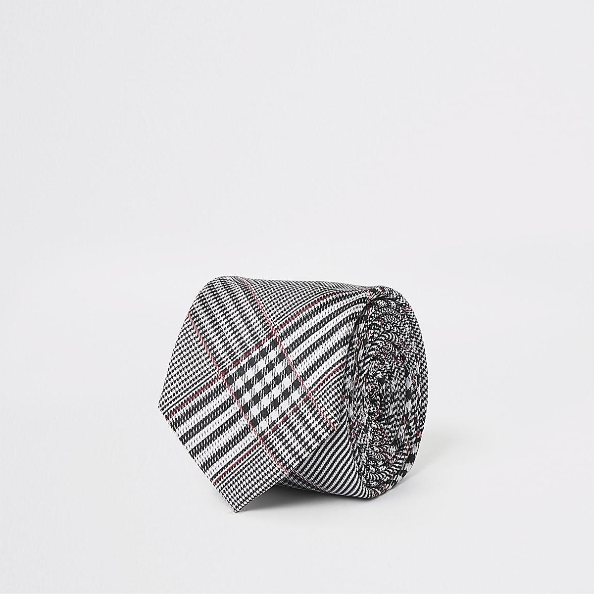 Grey check tie