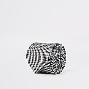 Cravate motif pied-de-poule noire