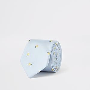 Lichtblauwe stropdas met verfijnde bloemenprint
