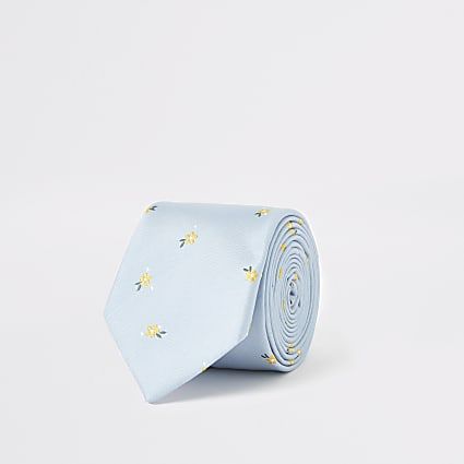 Light blue ditsy floral tie