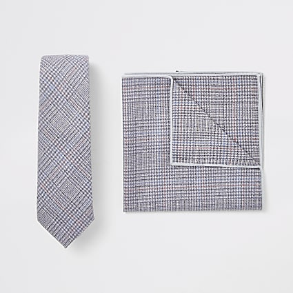 Light grey check handkerchief set