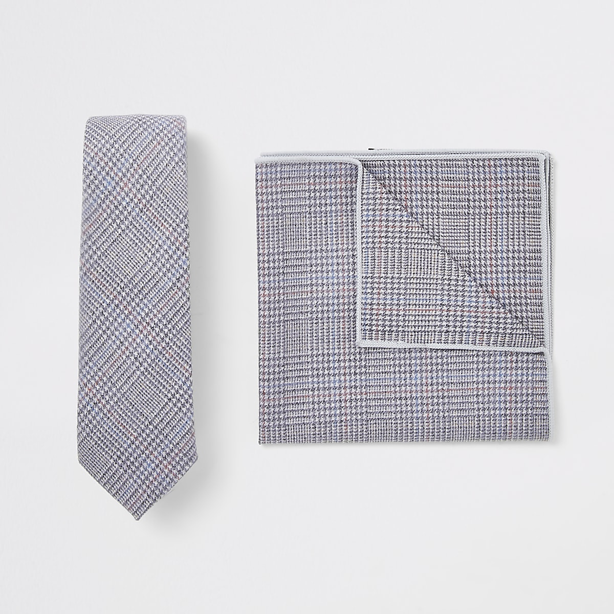 Light grey check handkerchief set