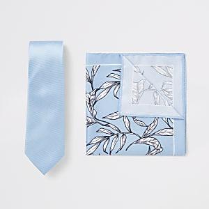 Blaue, geblümte Krawatte und Einstecktuch, Set