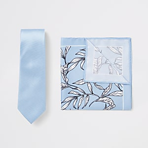 Set met blauwe stropdas en zakdoek met bloemenprint
