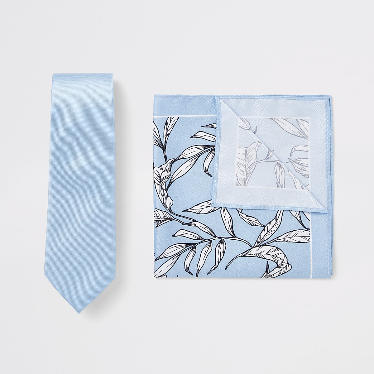Blue tie and floral handkerchief set