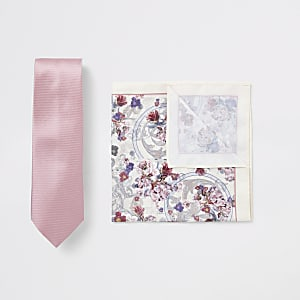 Pink tie and floral handkerchief set