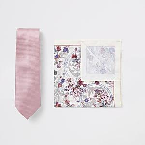 Pink tie and floral handkerchief set