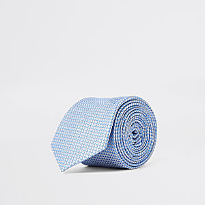 Cravate à imprimé géométrique bleue