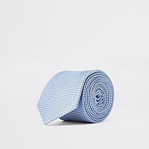 Blauwe stropdas met geometrische print