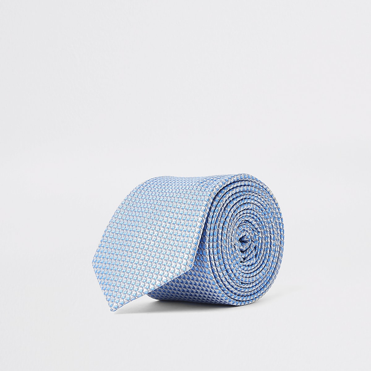 Blue geo print tie