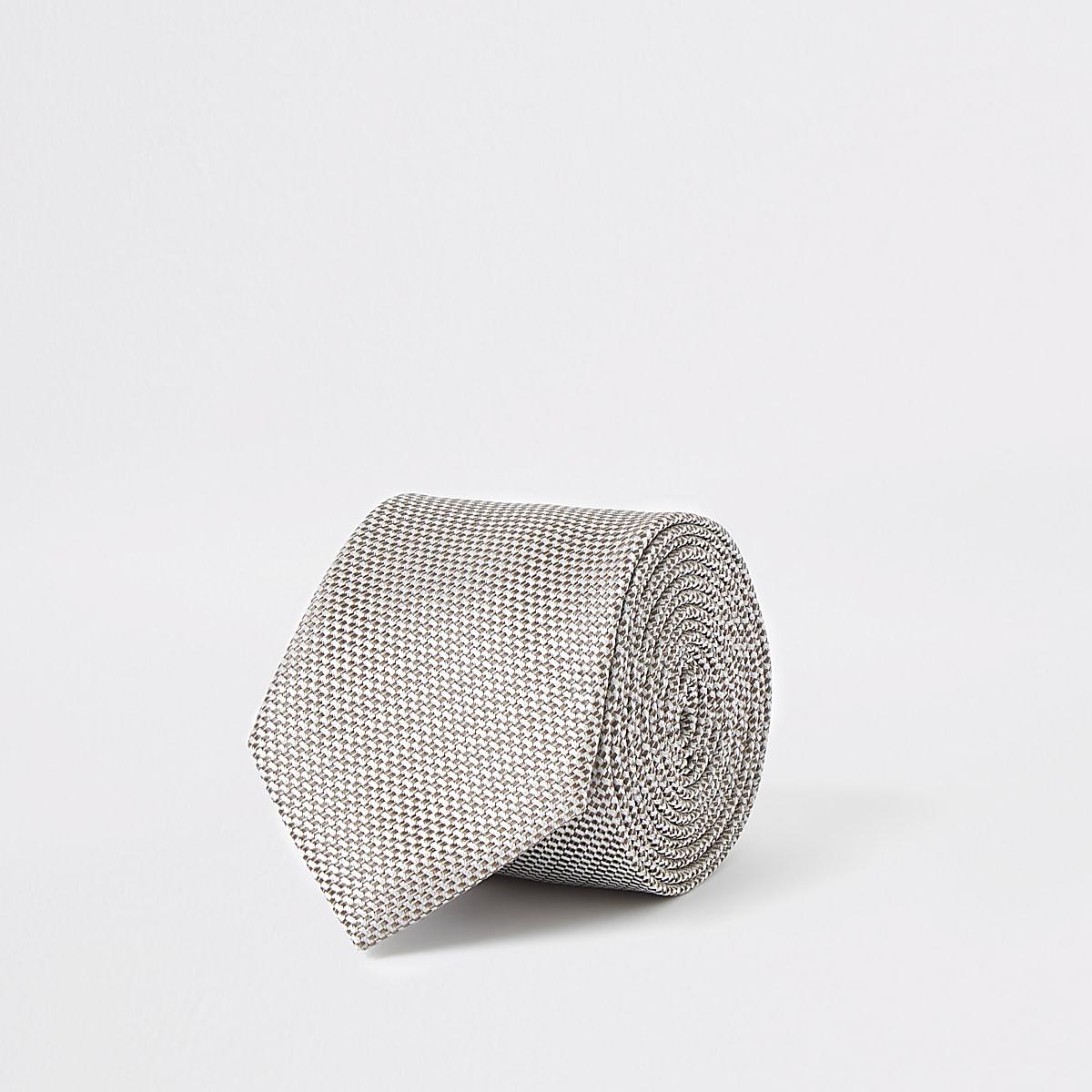 Ecru textured tie