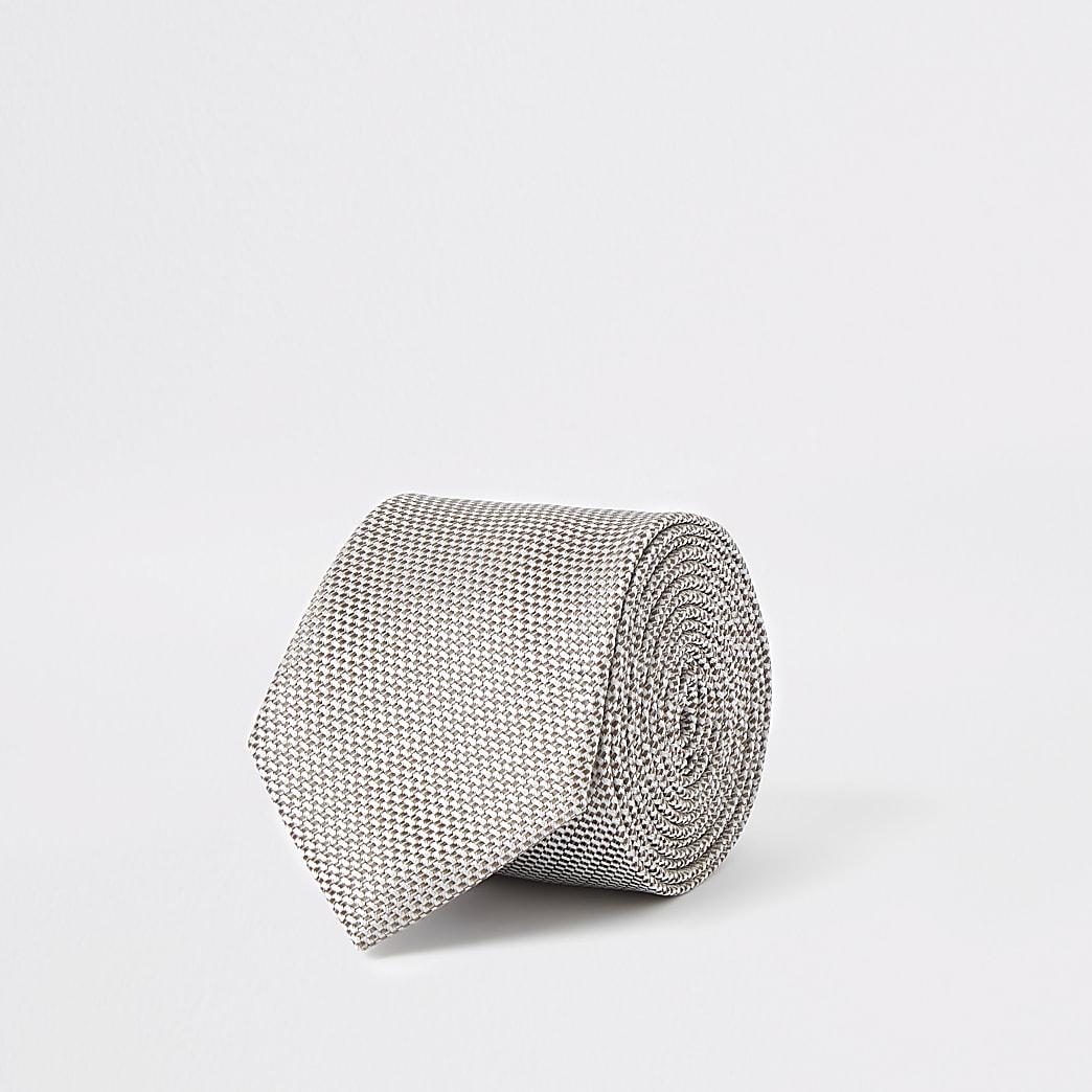 Ecru stropdas met textuur