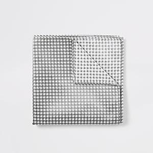 Mouchoir motif pied-de-poule blanc métallisé