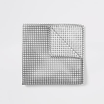White dogtooth metallic handkerchief