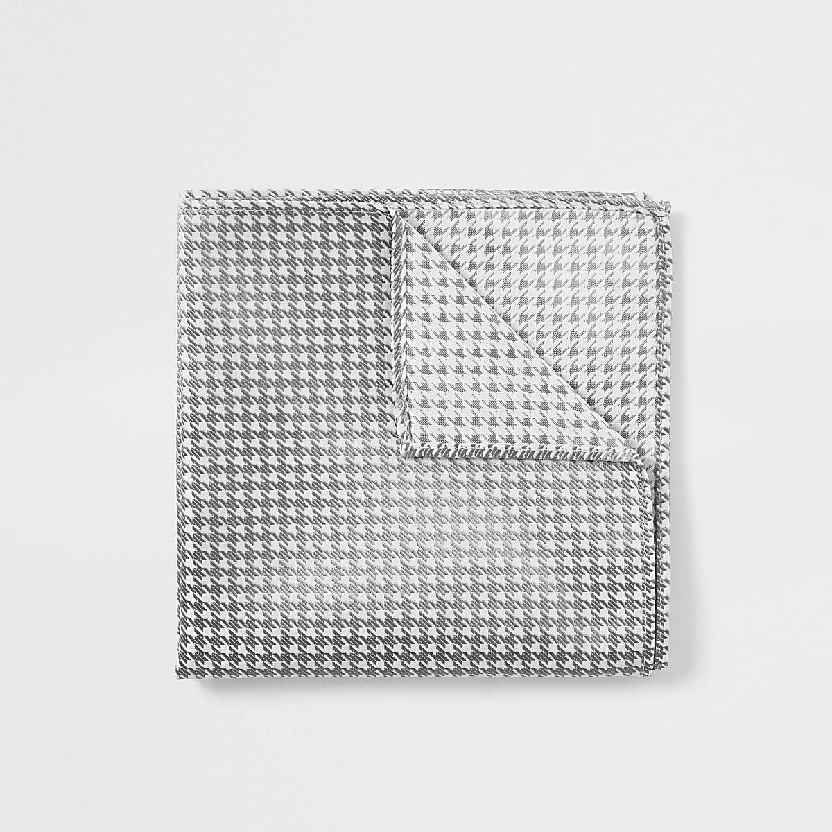 White houndstooth metallic handkerchief