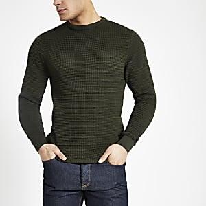 Kaki gebreide slim-fit pullover met textuur