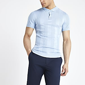 Light blue muscle fit rib knitted polo shirt
