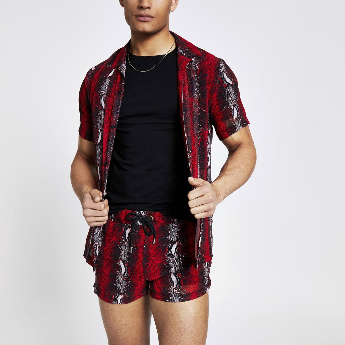 JadedLondon- Rood overhemd met slangenprint en normale pasvorm
