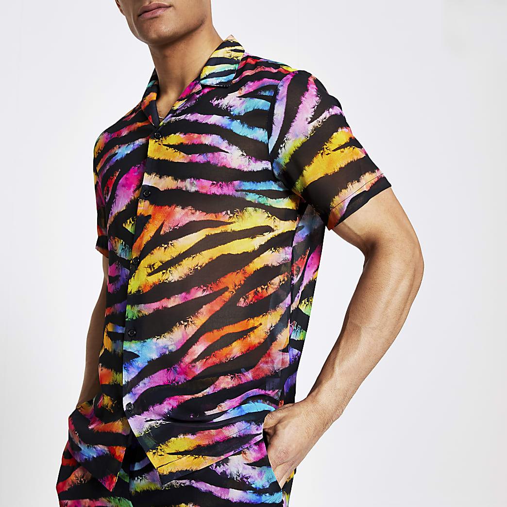 Jaded London - Zwart overhemd met tijgerprint