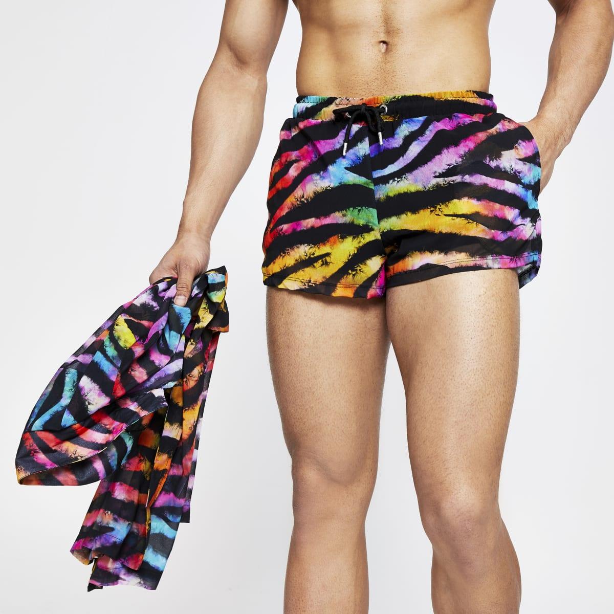 Jaded London black tiger print shorts