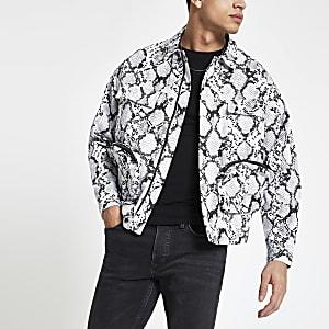 Jaded London white snake skin print jacket