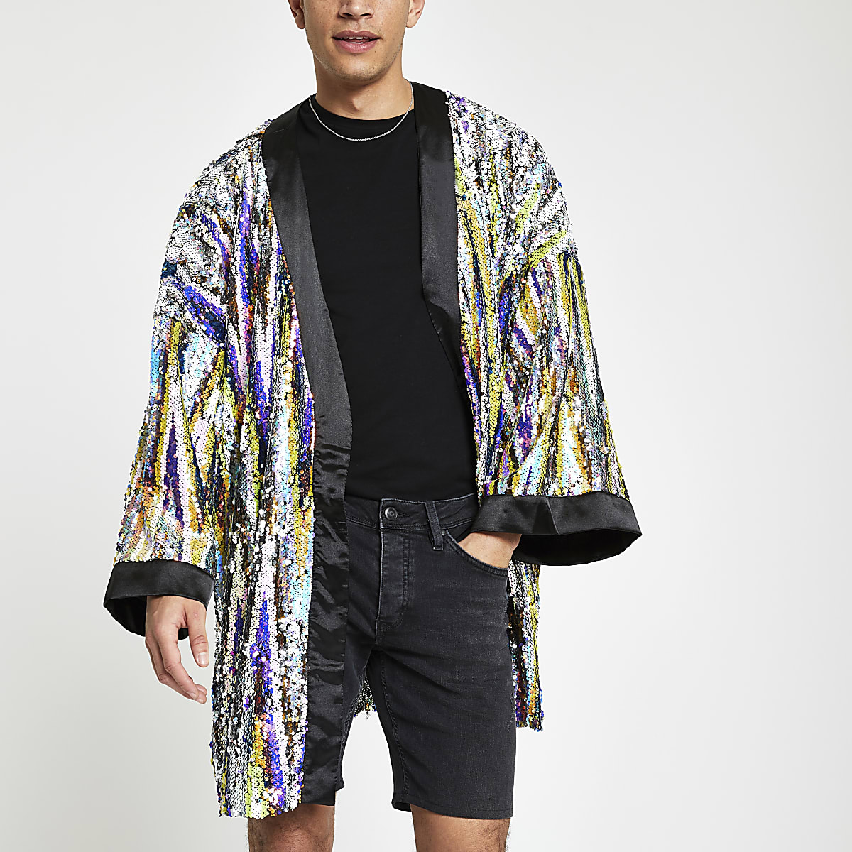 Jaded London black sequin embellished kimono