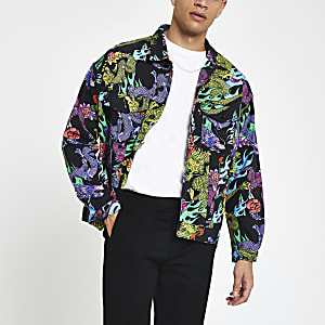 Jaded London black dragon print denim jacket