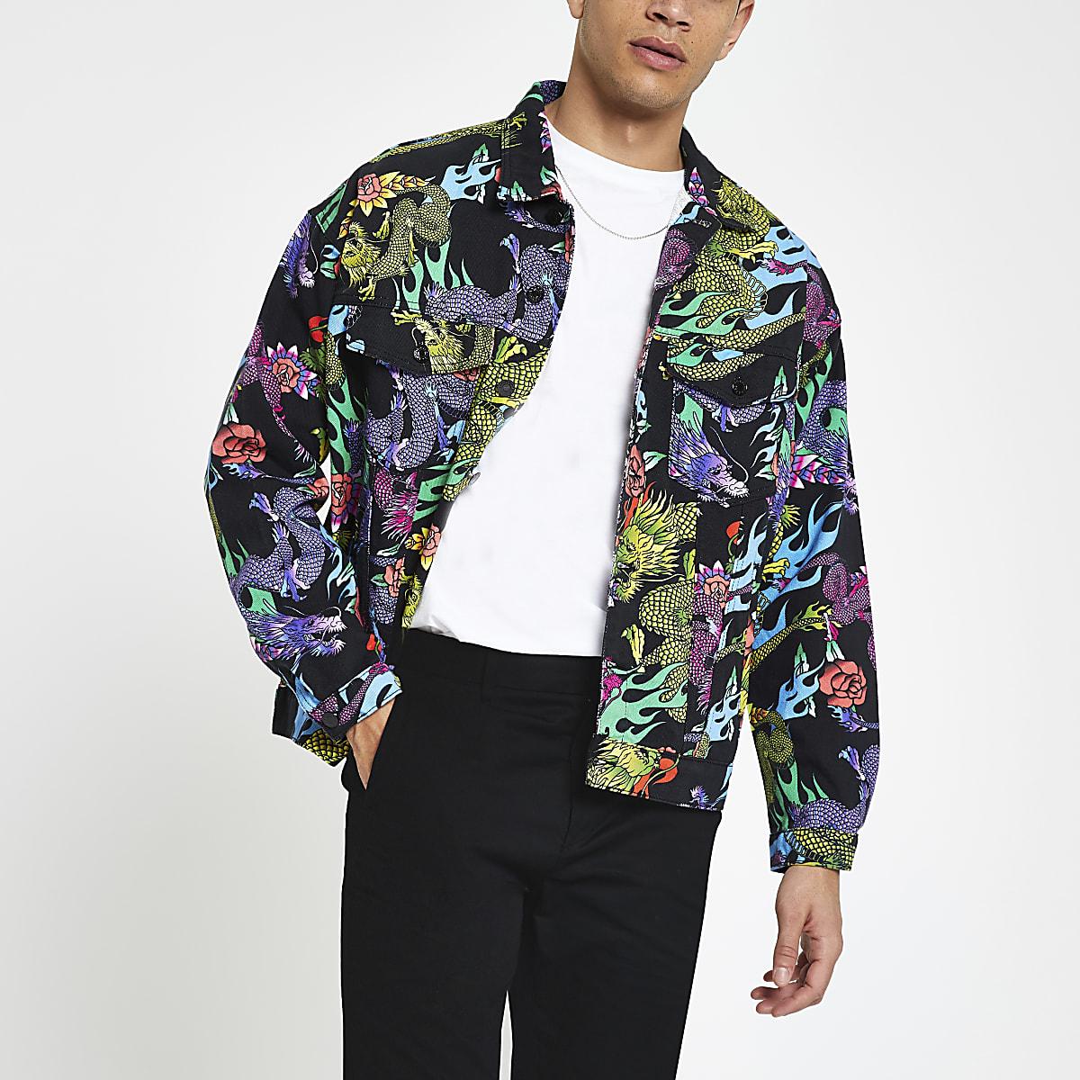 Jaded London black dragon print denim jacket