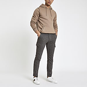 Grey check skinny cargo pants