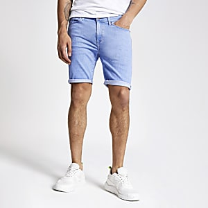 Lichtblauwe skinny denim short