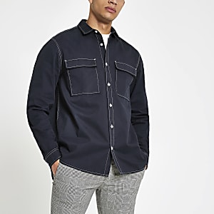 Navy long sleeve utility shirt