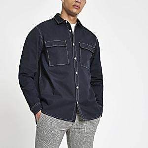 Marineblauw utility overhemd met lange mouwen